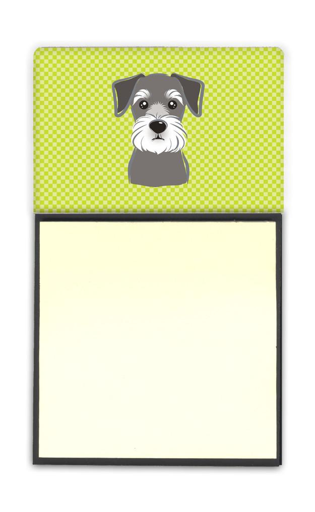 Checkerboard Lime Green Schnauzer Refiillable Sticky Note Holder or Postit Note Dispenser BB1268SN by Caroline's Treasures