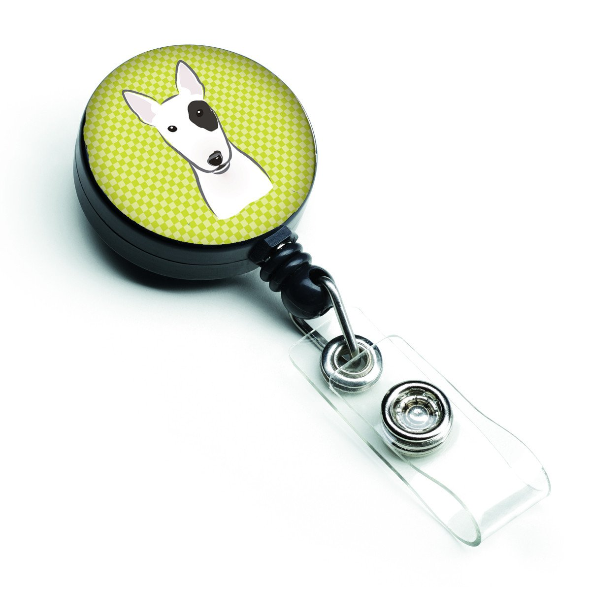 Checkerboard Lime Green Bull Terrier Retractable Badge Reel BB1271BR - the-store.com