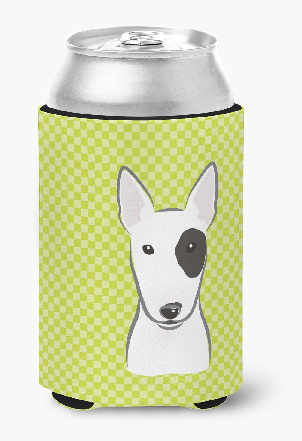 Checkerboard Lime Green Bull Terrier Can or Bottle Hugger BB1271CC - the-store.com