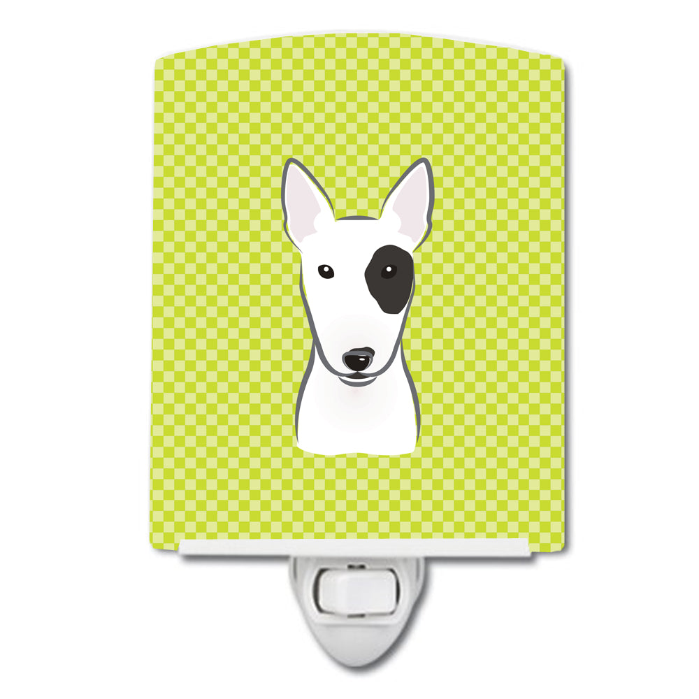 Buy this Checkerboard Lime Green Bull Terrier Ceramic Night Light BB1271CNL