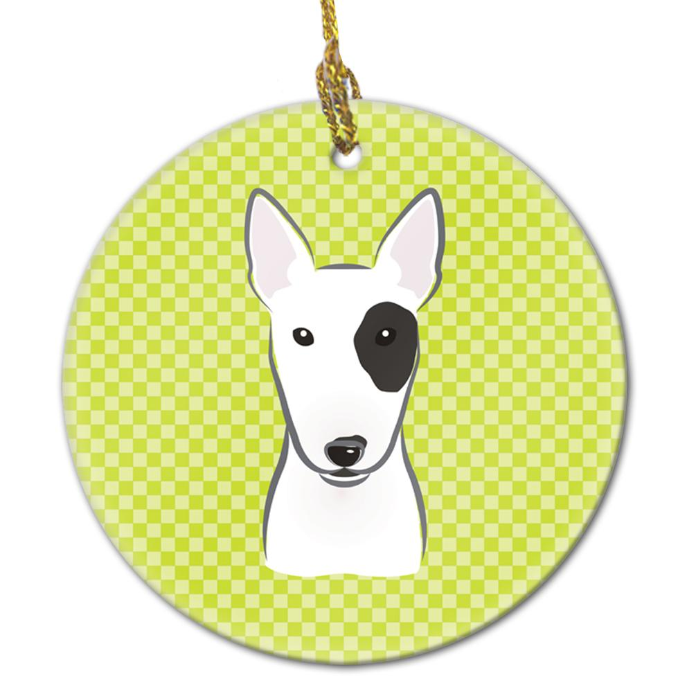 Buy this Checkerboard Lime Green Bull Terrier Ceramic Ornament BB1271CO1