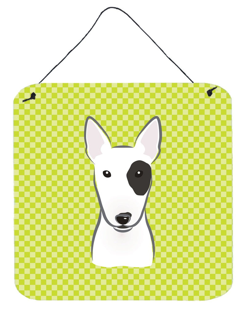 Checkerboard Lime Green Bull Terrier Wall or Door Hanging Prints BB1271DS66 - the-store.com