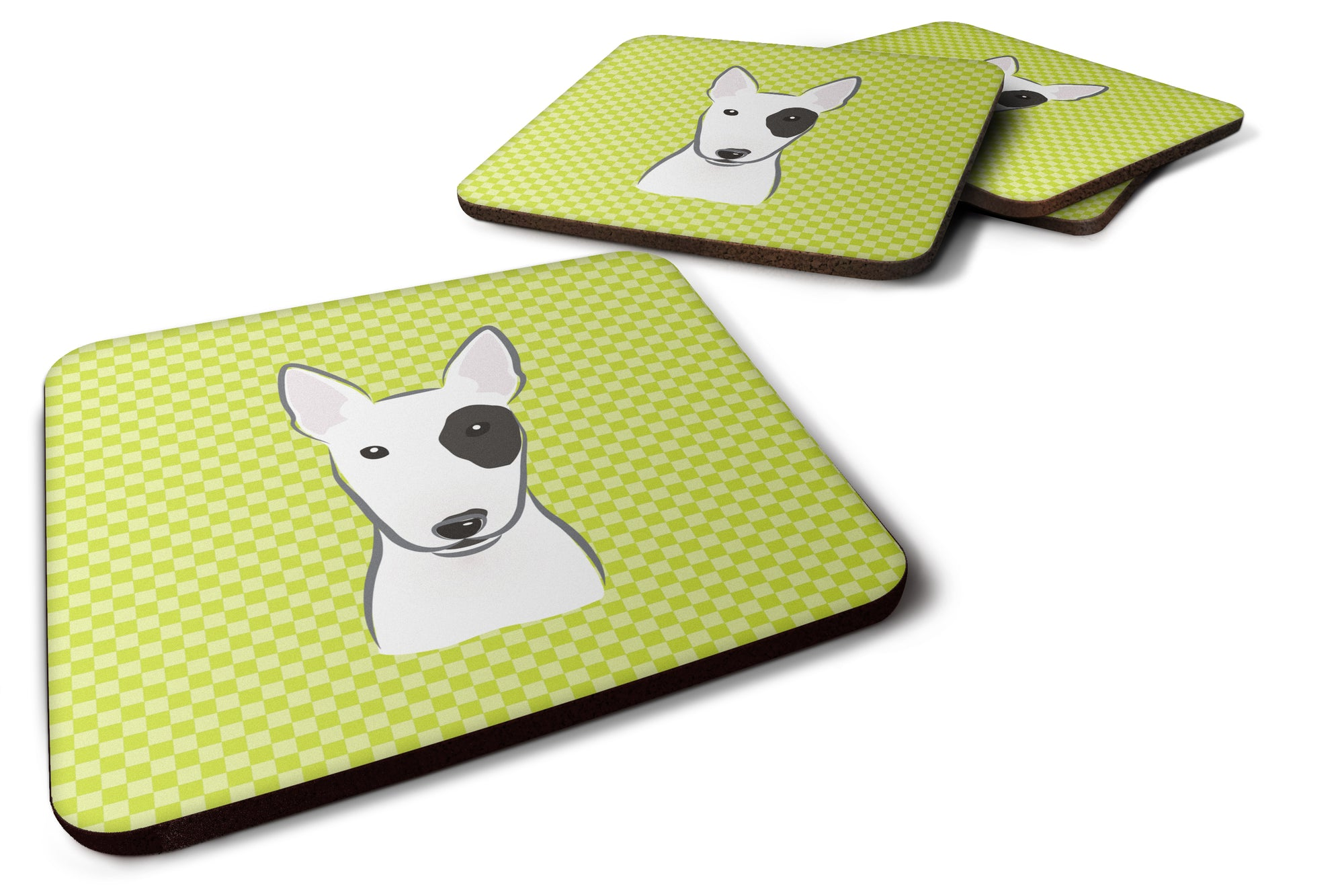 Buy this Set of 4 Checkerboard Lime Green Bull Terrier Foam Coasters BB1271FC