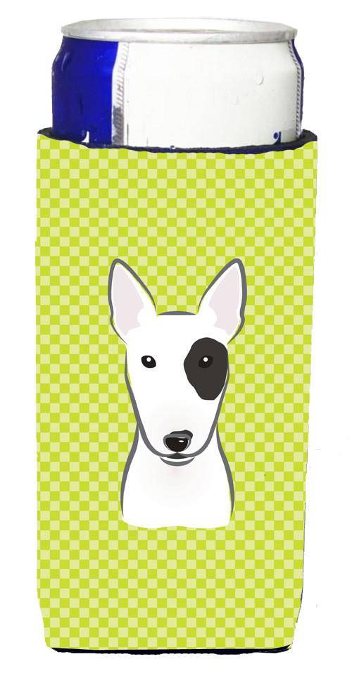 Checkerboard Lime Green Bull Terrier Ultra Beverage Insulators for slim cans by Caroline's Treasures