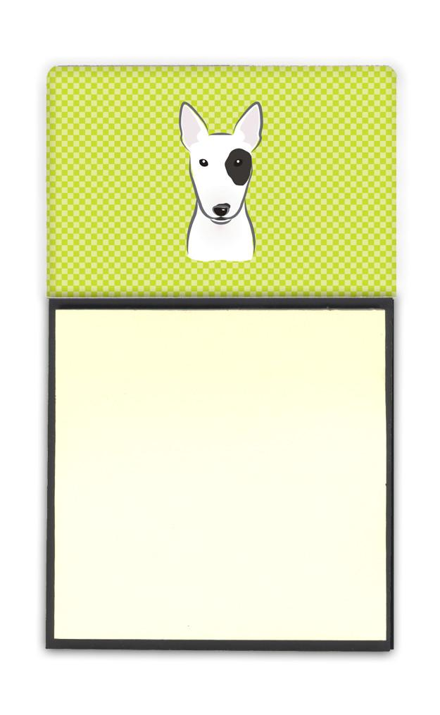 Checkerboard Lime Green Bull Terrier Refiillable Sticky Note Holder or Postit Note Dispenser BB1271SN - the-store.com