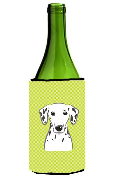 Checkerboard Lime Green Dalmatian Wine Bottle Beverage Insulator Hugger BB1272LITERK by Caroline's Treasures