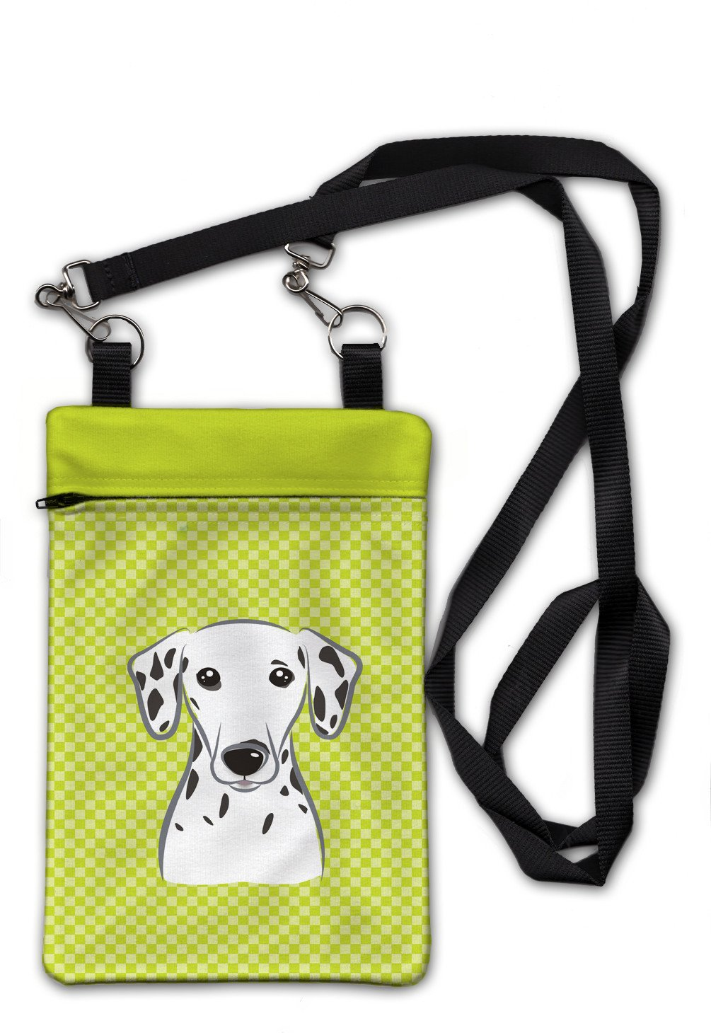 Checkerboard Lime Green Dalmatian Crossbody Bag Purse BB1272OBDY by Caroline's Treasures