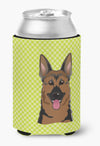 Checkerboard Lime Green German Shepherd Can or Bottle Hugger BB1273CC by Caroline's Treasures