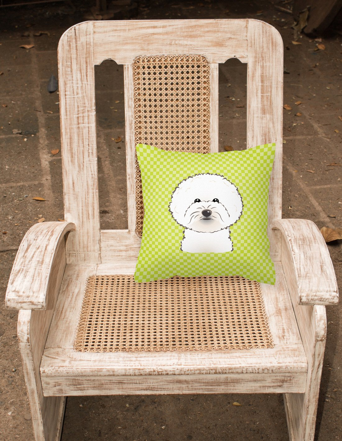 Checkerboard Lime Green Bichon Frise Canvas Fabric Decorative Pillow BB1279PW1414 - the-store.com