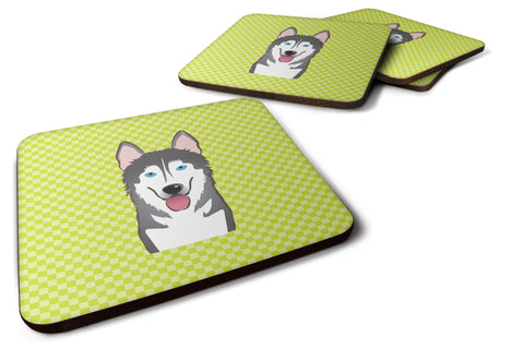 Buy this Set of 4 Checkerboard Lime Green Alaskan Malamute Foam Coasters BB1280FC