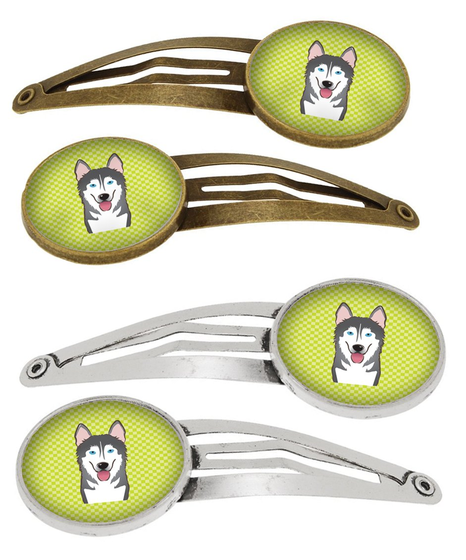 Buy this Checkerboard Lime Green Alaskan Malamute Set of 4 Barrettes Hair Clips BB1280HCS4
