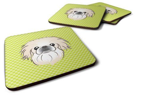 Buy this Set of 4 Checkerboard Lime Green Pekingese Foam Coasters BB1283FC