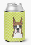 Checkerboard Lime Green Boxer Can or Bottle Hugger BB1285CC by Caroline's Treasures