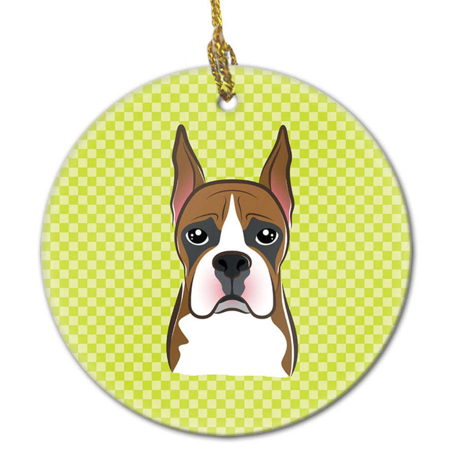 Buy this Checkerboard Lime Green Boxer Ceramic Ornament