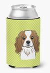 Checkerboard Lime Green Cavalier Spaniel Can or Bottle Hugger BB1286CC by Caroline's Treasures