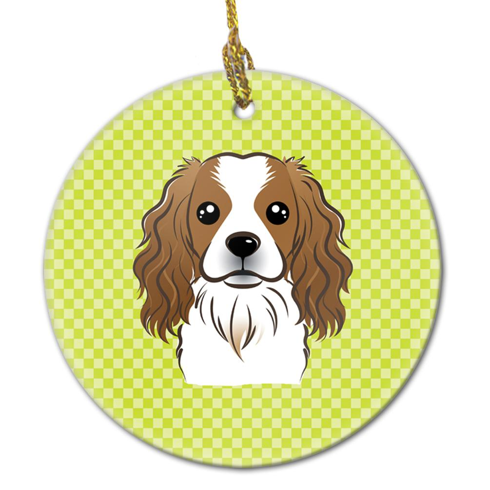 Buy this Checkerboard Lime Green Cavalier Spaniel Ceramic Ornament