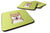Set of 4 Checkerboard Lime Green Shiba Inu Foam Coasters BB1287FC by Caroline's Treasures
