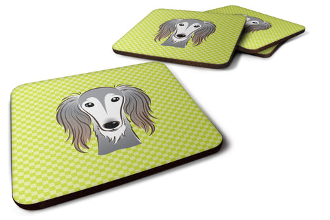 Buy this Set of 4 Checkerboard Lime Green Saluki Foam Coasters BB1291FC