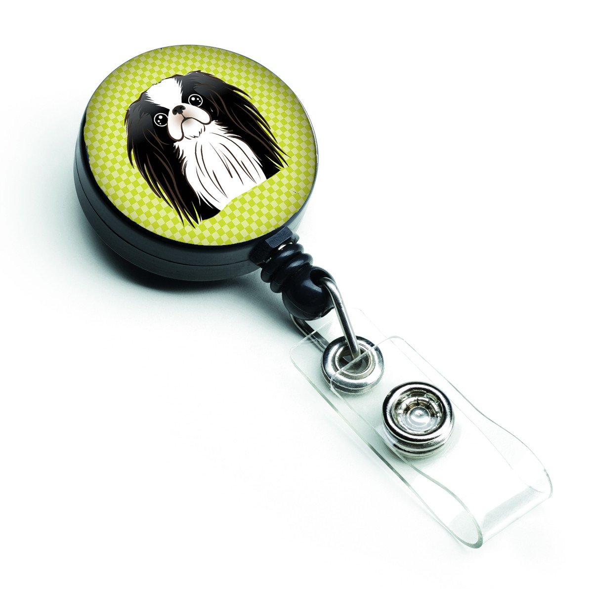 Checkerboard Lime Green Japanese Chin Retractable Badge Reel BB1292BR by Caroline's Treasures