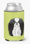Checkerboard Lime Green Japanese Chin Can or Bottle Hugger BB1292CC by Caroline's Treasures