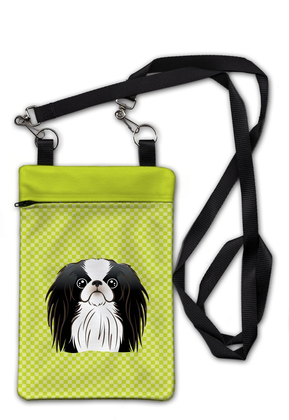 Checkerboard Lime Green Japanese Chin Crossbody Bag Purse BB1292OBDY by Caroline's Treasures
