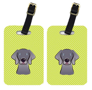 Buy this Pair of Checkerboard Lime Green Weimaraner Luggage Tags BB1293BT