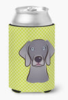 Checkerboard Lime Green Weimaraner Can or Bottle Hugger BB1293CC by Caroline's Treasures