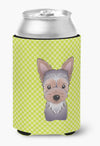 Checkerboard Lime Green Yorkie Puppy Can or Bottle Hugger BB1294CC by Caroline's Treasures