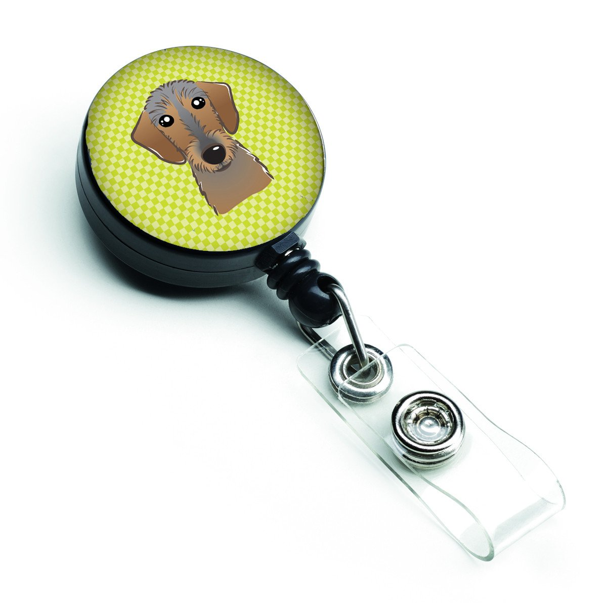 Checkerboard Lime Green Wirehaired Dachshund Retractable Badge Reel BB1295BR by Caroline's Treasures