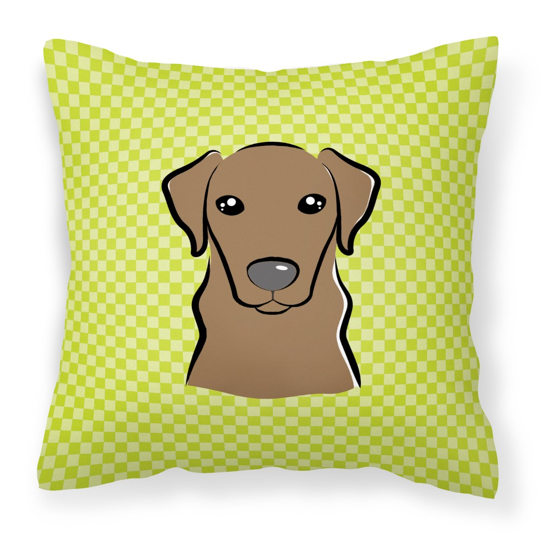 Buy this Checkerboard Lime Green Chocolate Labrador Canvas Fabric Decorative Pillow