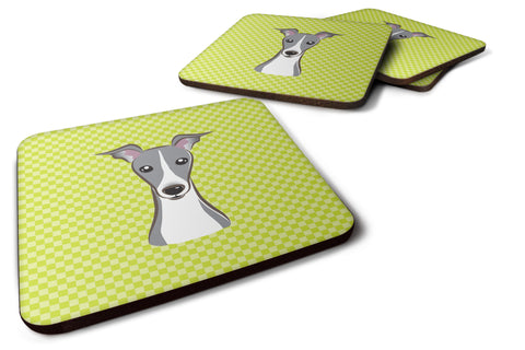 Buy this Set of 4 Checkerboard Lime Green Italian Greyhound Foam Coasters BB1298FC