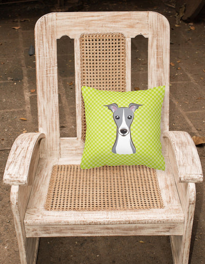 Checkerboard Lime Green Italian Greyhound Canvas Fabric Decorative Pillow BB1298PW1414 - the-store.com