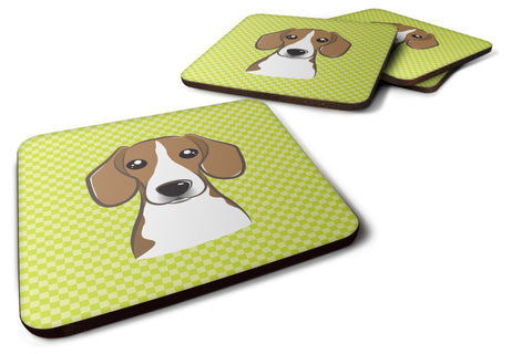 Buy this Set of 4 Checkerboard Lime Green Beagle Foam Coasters BB1301FC