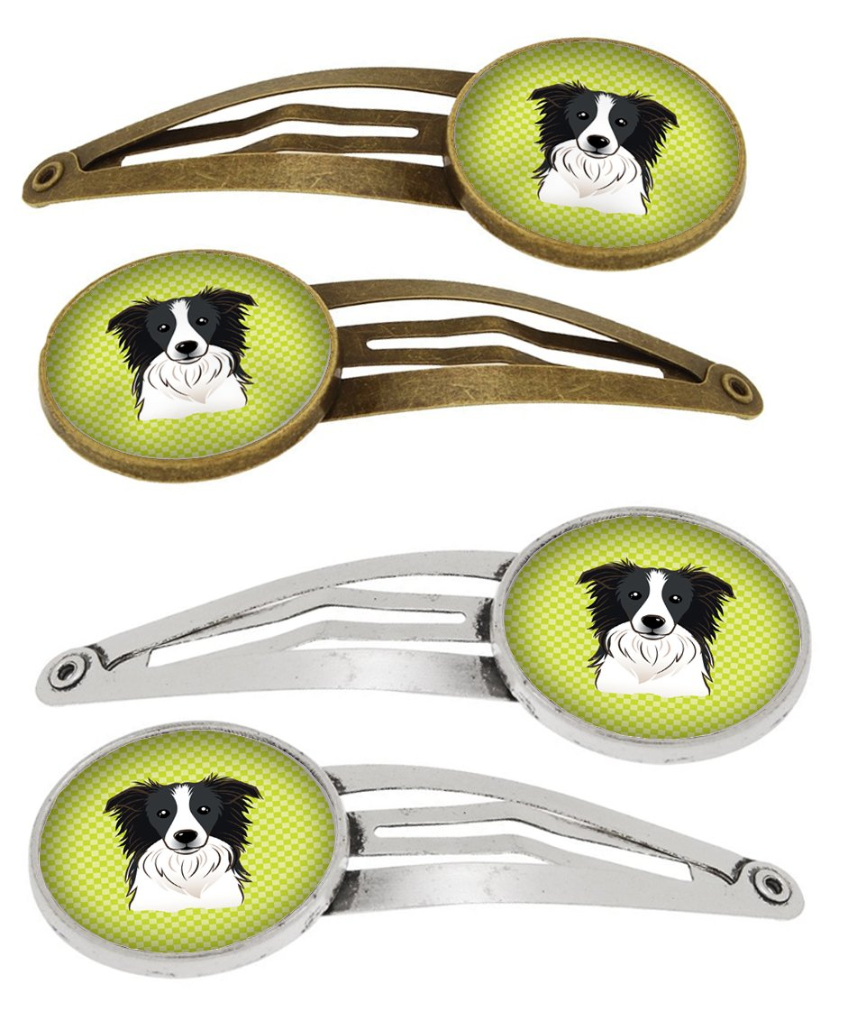 Checkerboard Lime Green Border Collie Set of 4 Barrettes Hair Clips BB1303HCS4 by Caroline's Treasures