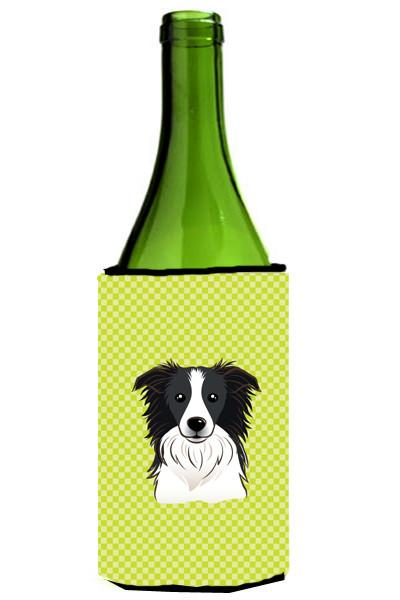 Checkerboard Lime Green Border Collie Wine Bottle Beverage Insulator Hugger BB1303LITERK by Caroline's Treasures