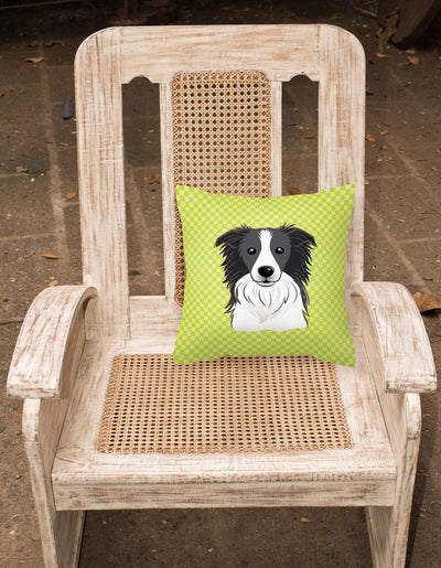 Checkerboard Lime Green Border Collie Canvas Fabric Decorative Pillow BB1303PW1414 - the-store.com