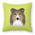 Buy this Checkerboard Lime Green Sheltie Canvas Fabric Decorative Pillow