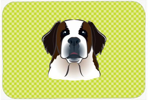 Checkerboard Lime Green Saint Bernard Mouse Pad, Hot Pad or Trivet BB1308MP by Caroline's Treasures