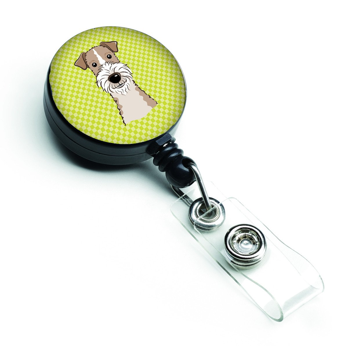 Checkerboard Lime Green Wire Haired Fox Terrier Retractable Badge Reel BB1309BR by Caroline's Treasures