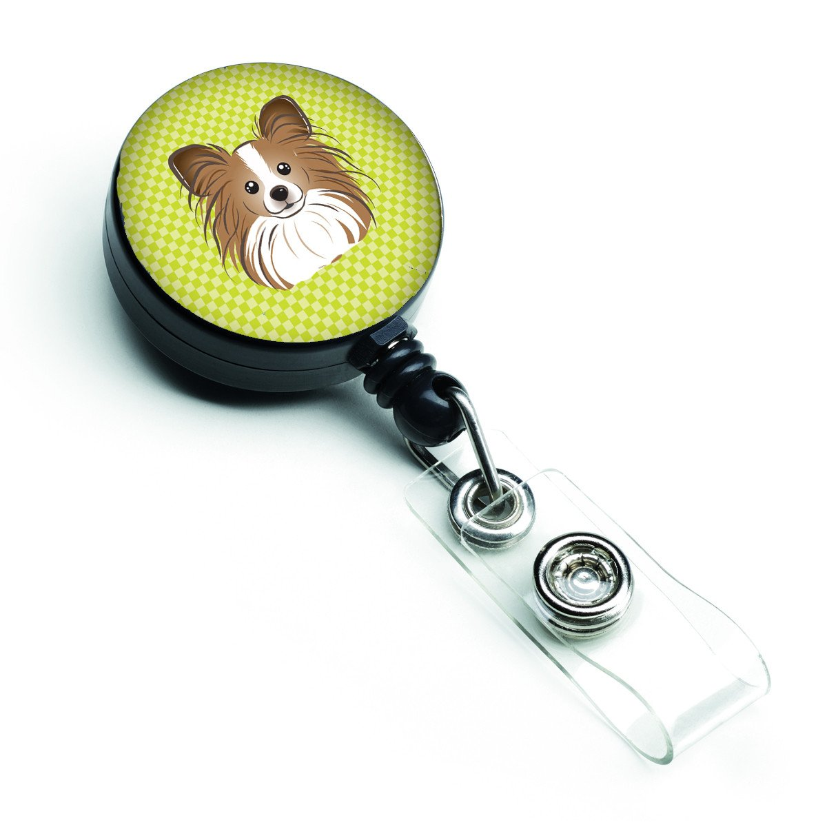 Checkerboard Lime Green Papillon Retractable Badge Reel BB1310BR by Caroline's Treasures