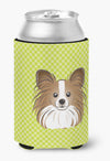 Checkerboard Lime Green Papillon Can or Bottle Hugger BB1310CC by Caroline's Treasures