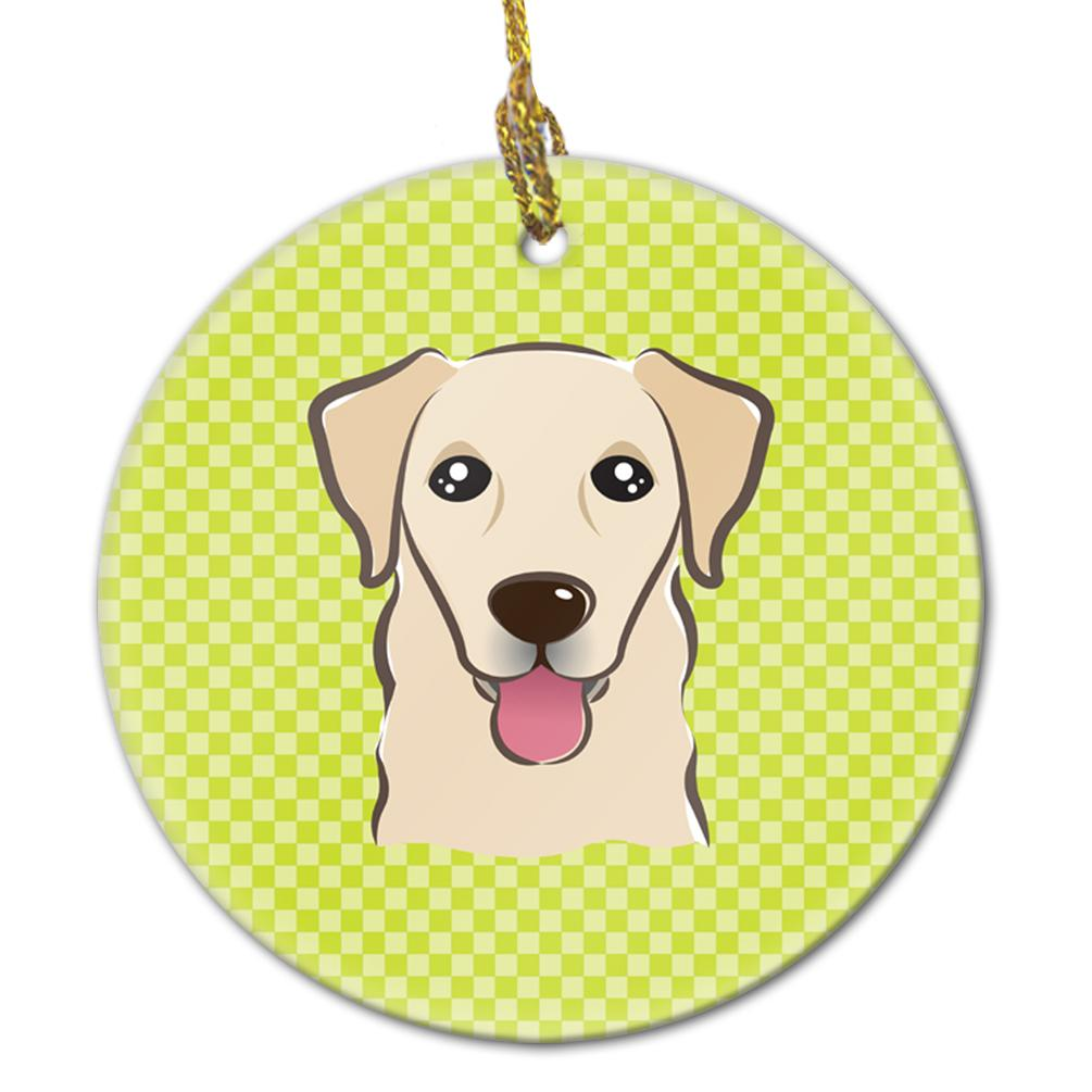 Buy this Checkerboard Lime Green Golden Retriever Ceramic Ornament