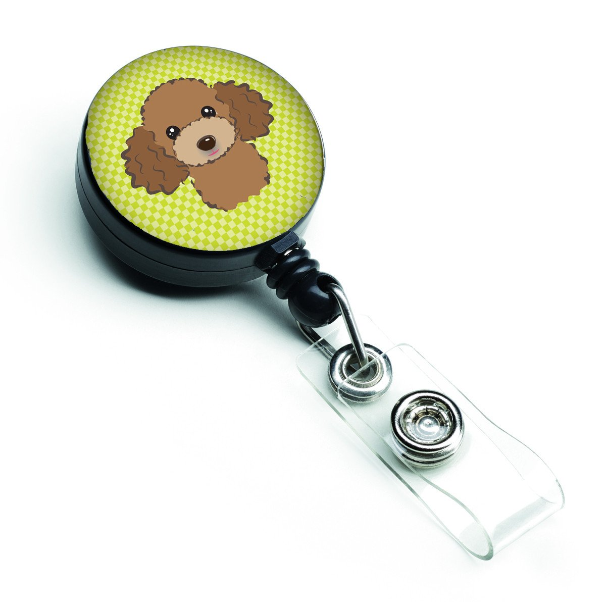 Checkerboard Lime Green Chocolate Brown Poodle Retractable Badge Reel BB1318BR by Caroline's Treasures