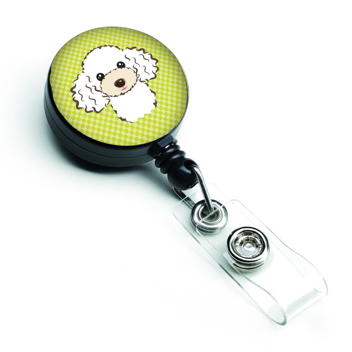 Checkerboard Lime Green White Poodle Retractable Badge Reel BB1319BR by Caroline's Treasures