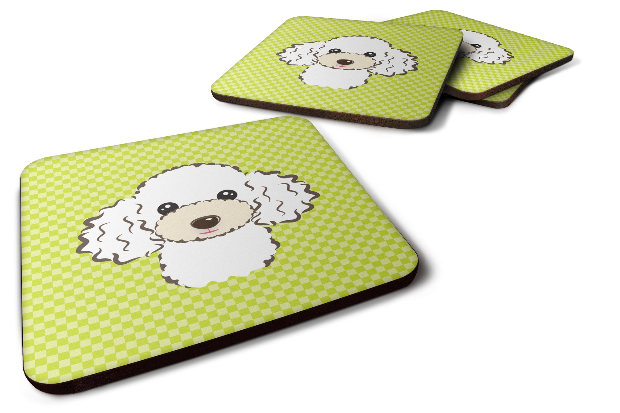 Set of 4 Checkerboard Lime Green White Poodle Foam Coasters BB1319FC by Caroline's Treasures
