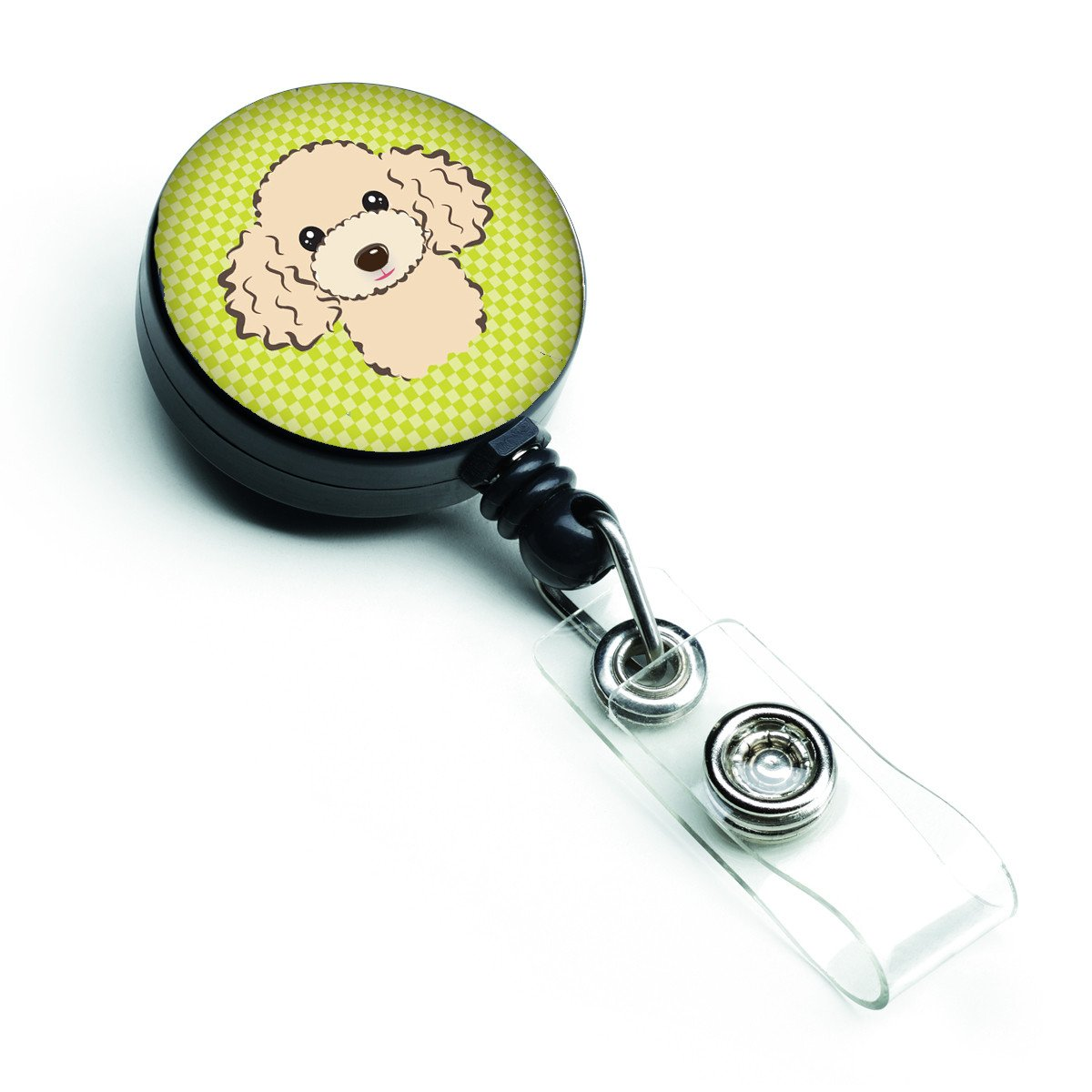 Checkerboard Lime Green Buff Poodle Retractable Badge Reel BB1320BR - the-store.com