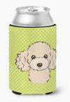 Checkerboard Lime Green Buff Poodle Can or Bottle Hugger BB1320CC by Caroline's Treasures