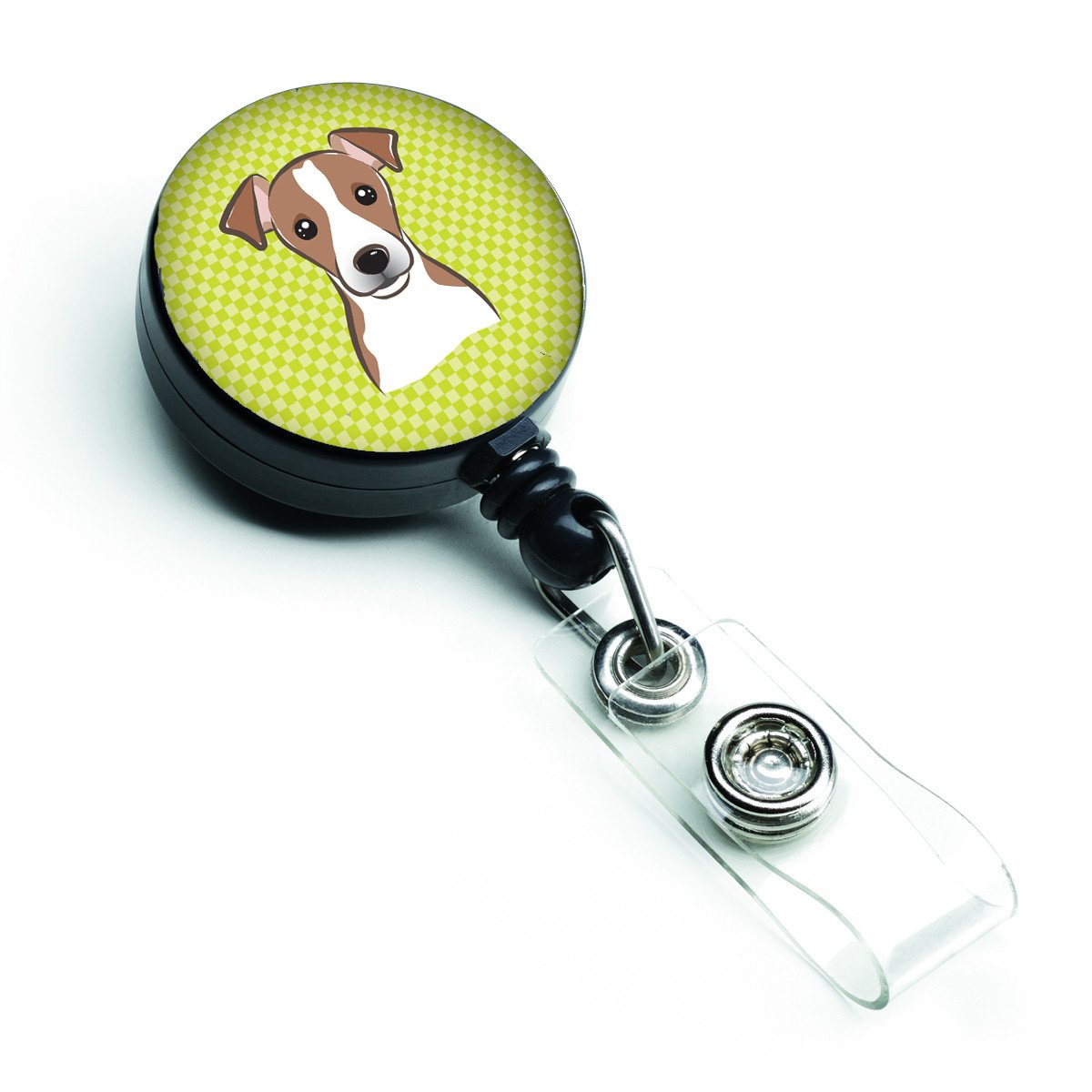 Checkerboard Lime Green Jack Russell Terrier Retractable Badge Reel BB1322BR by Caroline's Treasures