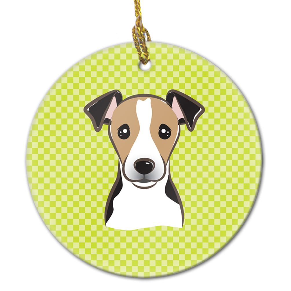 Checkerboard Lime Green Jack Russell Terrier Ceramic Ornament BB1323CO1 by Caroline's Treasures