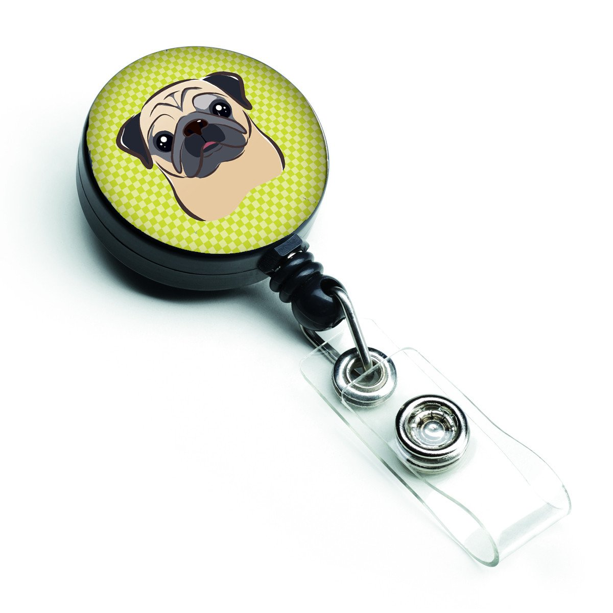 Checkerboard Lime Green Fawn Pug Retractable Badge Reel BB1324BR by Caroline's Treasures